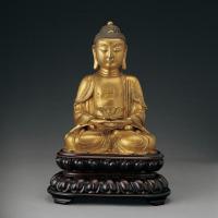 明 铜鎏金释迦牟尼坐像