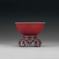清康熙 霁红釉碗