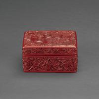 明中期 剔红胡人戏狮图方盒
