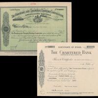 1960年渣打银行股票二件
