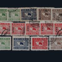"""○1949-1950年西南区西南解放纪念邮票四枚全、第三次加盖""""改作""""改值邮票十枚全各一套"""