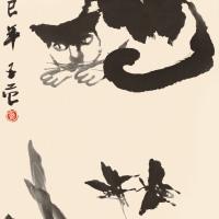 崔子范  猫蝶图