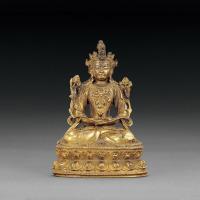 明宣德 铜鎏金文殊菩萨坐像