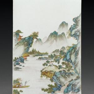 民国 粉彩山水人物图瓷板