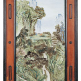 民国 张志汤绘粉彩观瀑图大瓷板