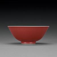 清雍正 霁红釉碗