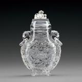 清 水晶浮雕龙纹兽耳活环螭钮盖瓶