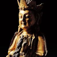 明 铜鎏金观音立像
