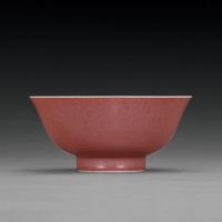 清雍正 霁红釉大碗