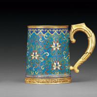清晚期 铜胎掐丝珐琅缠枝莲纹啤酒杯