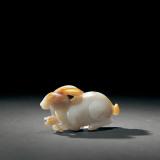 宋 青白玉雕兔板灵芝