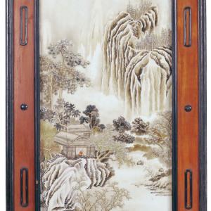 民国 张志汤绘墨彩赏雪图大瓷板
