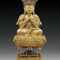 明中期 铜鎏金大日如来坐像