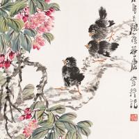唐云  海棠群雀
