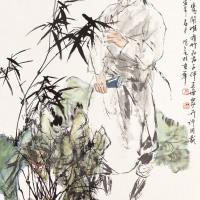 王明明  板桥吟诗图