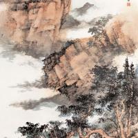 董寿平  秋壑树色深