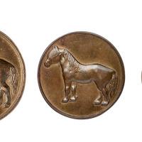 民国时期天津造币厂铸造马钱单面试铸样币大、中、小各一枚