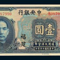 民国十五年中央银行银元券壹圆一枚