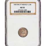 1801年墨西哥卡洛斯1/2R银币一枚
