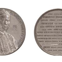 1843-1844年亚裔人像银质纪念章一枚