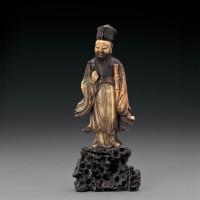 清早期 寿山石俏色雕张果老立像
