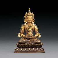 清雍正/乾隆 铜鎏金无量寿佛坐像