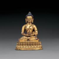 清乾隆 铜鎏金药师佛坐像