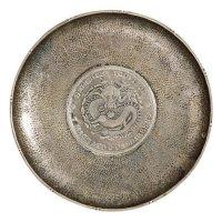 镶嵌四川省造光绪元宝库平七钱二分银币圆形银盘一只