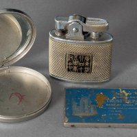 民国时期国华银行银质粉盒、广东银行银质打火机、中国银行银质镇尺各一件