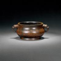 清乾隆 象耳簋式铜炉