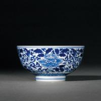 清康熙 青花缠枝牡丹纹碗