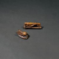 黄杨木雕秋虫、蝉一组两件