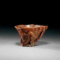 清早期 犀角雕双螭灵芝纹杯