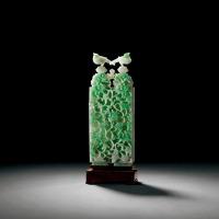 清中晚期 翡翠雕花卉绶带双连盖瓶