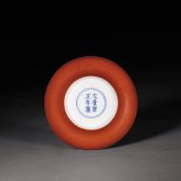 清雍正 珊瑚红釉折腰小盘