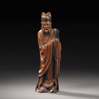 明晚期 黄杨木雕人物立像