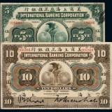 1905年美商上海花旗银行银元票伍圆、拾圆各一枚
