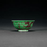 清光绪 绿地紫龙纹碗