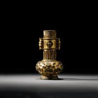 明 铜鎏金兽面纹投壶