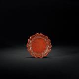 元 剔红四季花卉纹葵瓣式托盘