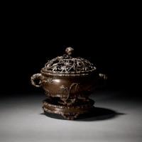 清中期 竹节式带座铜盖炉