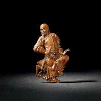 清中期 黄杨木雕清代官员坐像