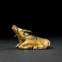 清早期 铜鎏金卧牛砚滴