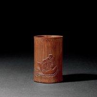 清康熙 竹雕和合二仙图笔筒