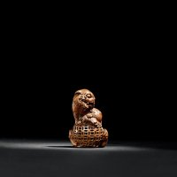 清中期 竹根雕五狮戏绣球