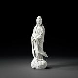 清末民初 德化窑白瓷渡海观音立像