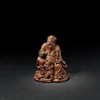清早期 竹根雕寿星童子像
