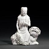 清 德化窑白瓷狮吼观音坐像
