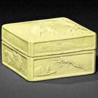 清道光 王炳荣制雕瓷柳荫憩马图印盒