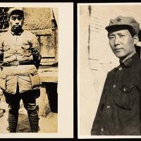 延安时期毛泽东/周恩来肖像照2张